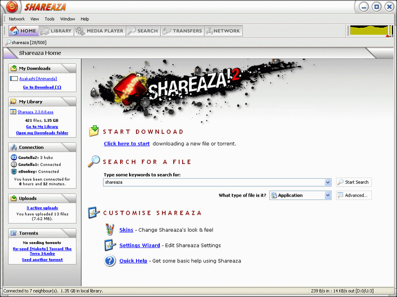 Click to view Shareaza 2.7.7.0 screenshot